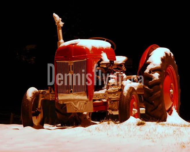 Avondale Fureys Tractor in Snow at Night December 18 2008