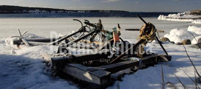 Greens Harbour Ice Boat and Anchors January 19 2009